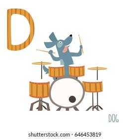 Vector cute kids animal alphabet. Letter D for the Dog