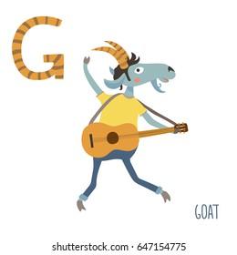 Vector cute kids animal alphabet. Letter G for the Goat