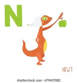 Vector cute kids animal alphabet. Letter N for the Newt
