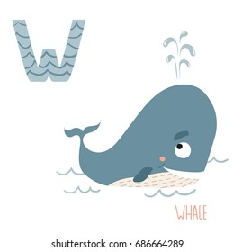 Vector cute kids animal alphabet. Letter W for Whale