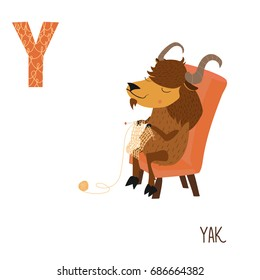 Vector cute kids animal alphabet. Letter Y for the Yak
