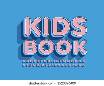 Vector cute label Kids Book with 3D Uppercase Font. Pink and Blue Alphabet Letters and Numbers