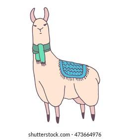 Vector cute lama illustration. Llama or alpaca hand drawn ink sketch. Cute mammal animal drawing with decorative ornaments