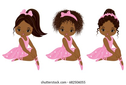 Vector cute little African American ballerinas with various hairstyles. Vector ballerinas in pink tutu dresses. African American ballerinas vector illustration