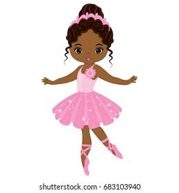 Vector cute little African American ballerina dancing. Vector ballerina girl in pink tutu dress. vector illustration