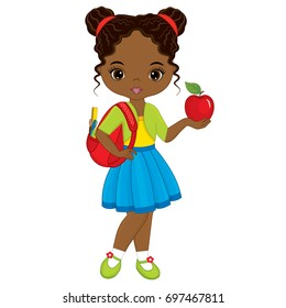 Vector cute little African American girl with school bag and apple. Little girl vector illustration