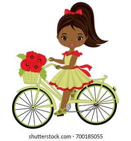Vector cute little African American girl riding bicycle. Vector bicycle with basket of poppies. Vector little African American girl and poppies. Little girl with bicycle vector illustration