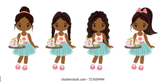Vector cute little African American girls with tea cups, cupcakes and trays. Vector little girls with various hairstyles. Vector tea party.