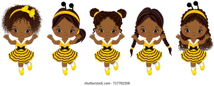 Vector cute little African American girls with various hairstyles. Little girls dressed in bee style running. Little African American girls vector illustration
