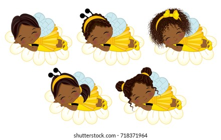 Vector cute little African American girls with various hairstyles. Little girls dressed in bee style sleeping on flowers. Little African American girls vector illustration