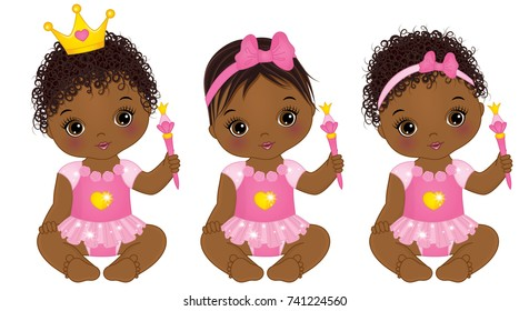 Vector cute little African American baby girl dressed as princesses. Vector baby girl. Vector little princess with magic wand.
