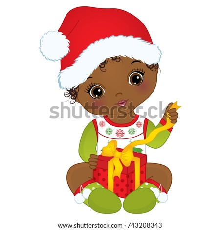 ed2a588291b Vector cute little African American baby girl wearing Christmas clothes.  Vector baby girl. Vector Christmas baby girl with gift box. - Vector