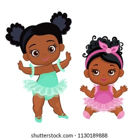 Vector cute little baby African American ballerinas in  tutu dresses.