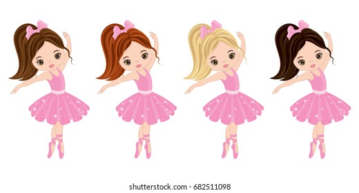 Vector cute little ballerinas with various hair colors. Vector ballerinas in pink tutu dresses. Ballerinas vector illustration