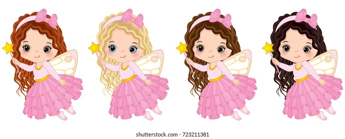 Vector cute little fairies with various hair colors flying. Vector little girls. Fairies vector illustration