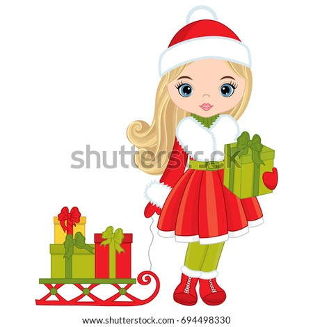 Vector Cute Little Girl Christmas Gifts Stock Vector (Royalty Free ...