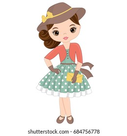 Vector cute little girl in retro style. Pin-up little girl vector illustration