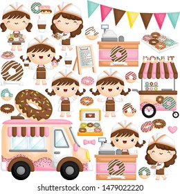 A Vector of Cute Little Girl Selling and Serving Donut in Various Poses with Other Items