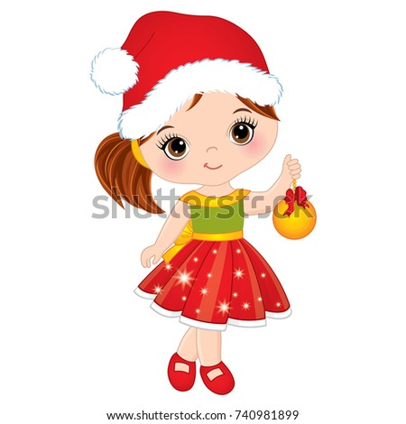 258efa591398 Vector cute little girl with wearing Santa's hat. Vector little girl with  Christmas ball.