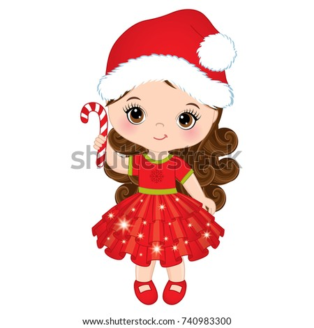 106e293b8c99 Vector cute little girl with wearing Santa's hat. Vector little girl with  candy stick.