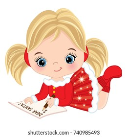Vector cute little girl writing letter to Santa. Vector Christmas girl. Little girl vector illustration