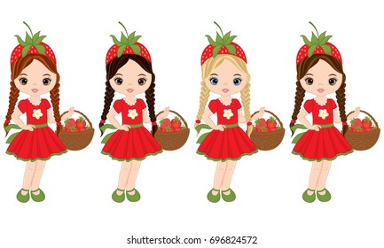 Vector cute little girls with baskets of strawberries. Vector little girls with various hair colors. Strawberry  girls vector illustration