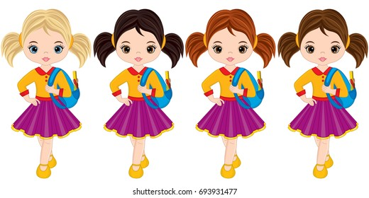 Vector cute little girls with school bags. Vector little girls with various hair colors. Little girls vector illustration