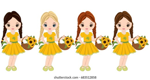 Vector cute little girls with various hair colors. Vector girls with baskets of sunflowers. vector illustration.