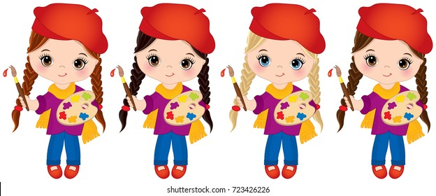 Vector cute little girls with various hair colors. Vector little artists with palettes and paint brushes. Little artists vector illustration