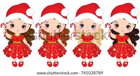31af71d8b444 Vector cute little girls wearing Santa hats. Vector little girls with candy  sticks. Vector