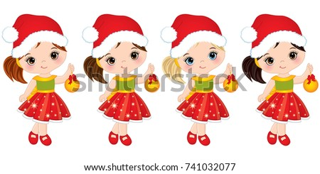 d451ec89fc8d Vector cute little girls with wearing Santa hats. Vector little girls with  Christmas balls.