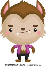 A Vector of Cute Little Kid in Halloween Werewolf Costume