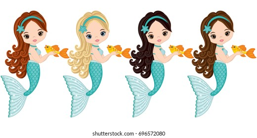 Vector cute little mermaids with fish.