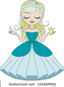 Vector cute little princess Cinderella in blue dress