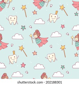Vector cute little tooth fairy with wand on abstract background with tooth, stars and clouds. Seamless pattern