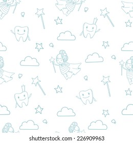 Vector cute little tooth fairy with wand on white background with tooth, stars and clouds. Seamless pattern