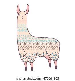 Vector cute llama illustration. Llama or alpaca hand drawn ink sketch. Cute mammal animal drawing with decorative ornaments