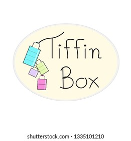 Vector - Cute logo design Tiffin box on light yellow round shape. Colorful. Can be use for advertising, web, badge, icon, banner, label or your sticker business.