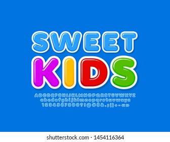 Vector cute logo Sweet Kids with blue Alphabet Letters, Numbers and Symbols. Glossy trendy Font