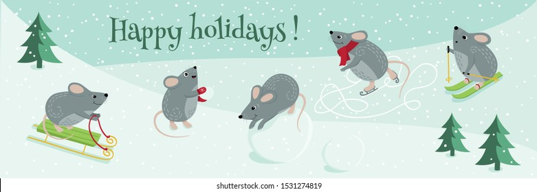 Vector cute mice are the symbol of 2020. Funny mice play winter games: skiing, playing snowballs, sledding, ice skating, sculpting a snowman. Mouse new year banner for your design. Set of mice.