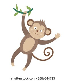 Vector cute monkey hanging on liana isolated on white background. Funny tropical animal illustration. Bright flat picture for children. Jungle summer clip art