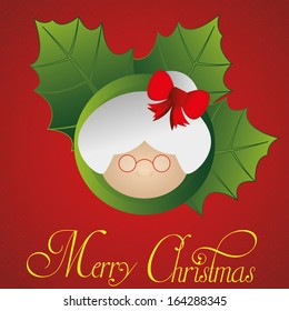Vector Cute Mrs Claus Face Isolated With Red Background