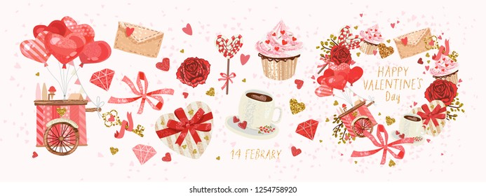 Vector Cute Objects Elements Valentines Day Stock Vector Royalty