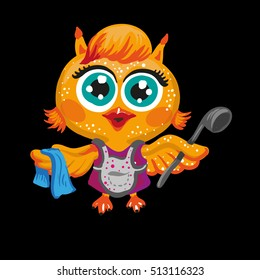 Vector cute owl. Cartoon character housewife . Isolated illustration on white.