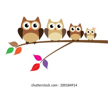 vector cute owl family sitting in the tree