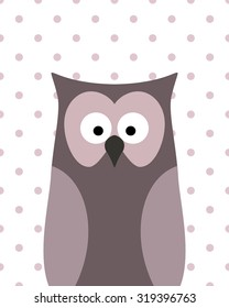 Vector cute owl on a white background