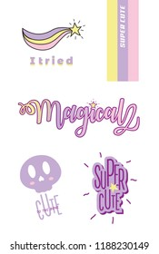 VECTOR CUTE PASTEL COLOR ELEMENTS, RAINBOW, STAR, QUOTES, CALLIGRAPHY, MAGICAL,  TYPOGRAPHY, SKULL, T SHIRT  DESIGNS