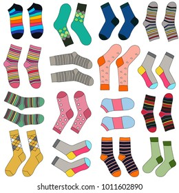 Vector Cute Pattern With A Variety Of Socks Packaging design, textile design. White background.