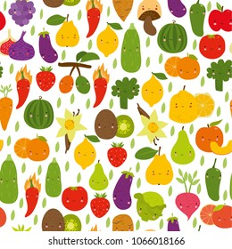 vector cute pattern, vegetables and fruits. funny characters, background