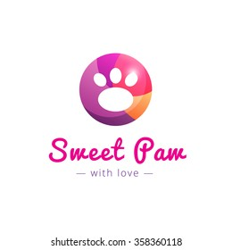 Vector cute paw pink logo. Pet shop sign